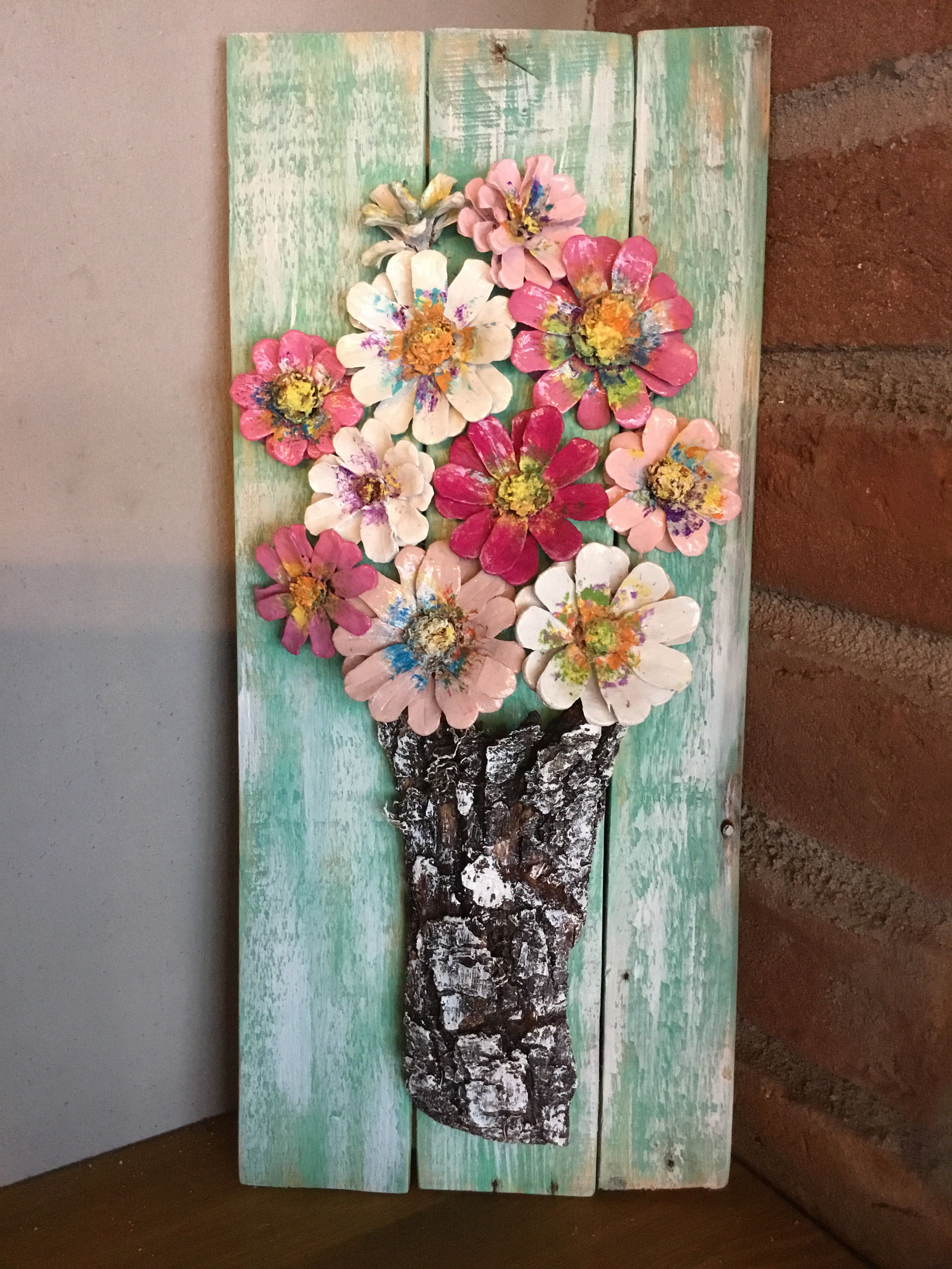 Pinecone flowers-hand painted wood framed pinecone flowers