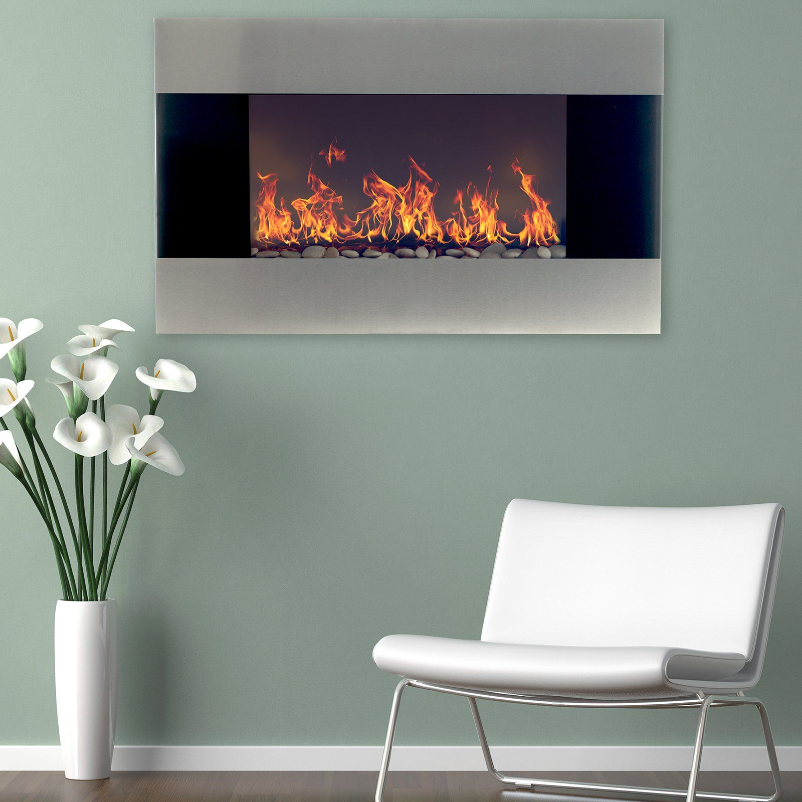 Northwest Stainless Steel Electric Fireplace Wall Mount From Hayneedle Com With Images Frames On Wall Black Framed Wall Art Mattress Furniture