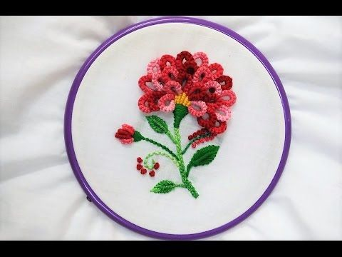 Hand Embroidery Flower With Cast On Stitch Youtube Embroidery