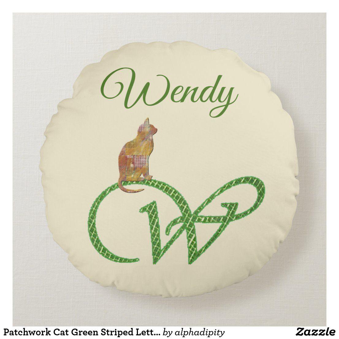 Patchwork Cat Green Striped Letter W Monogram Round Pillow   Zazzle.com