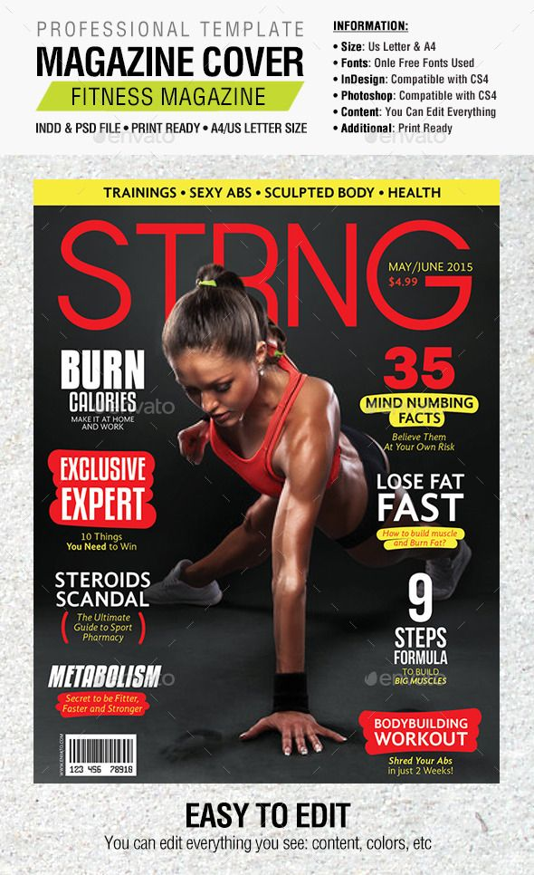 Strng Fitness Magazine Cover   Fitness magazine, Template and ...