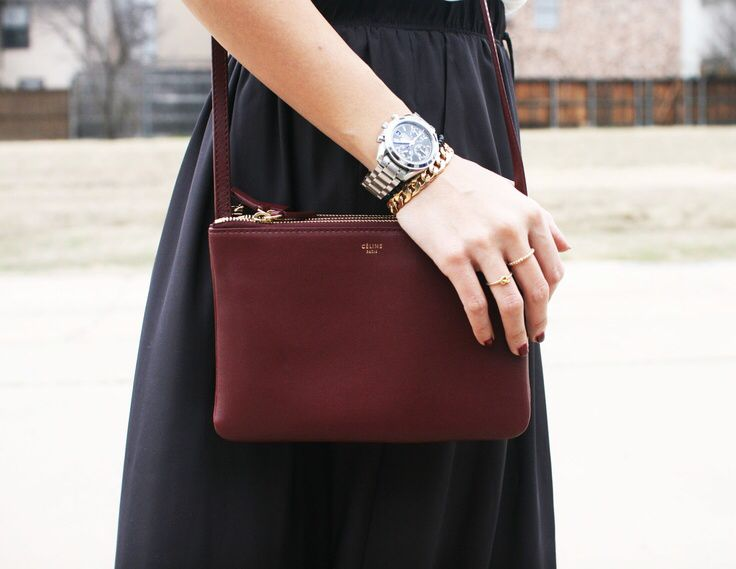 Celine burgundy mini trio cross-body bag