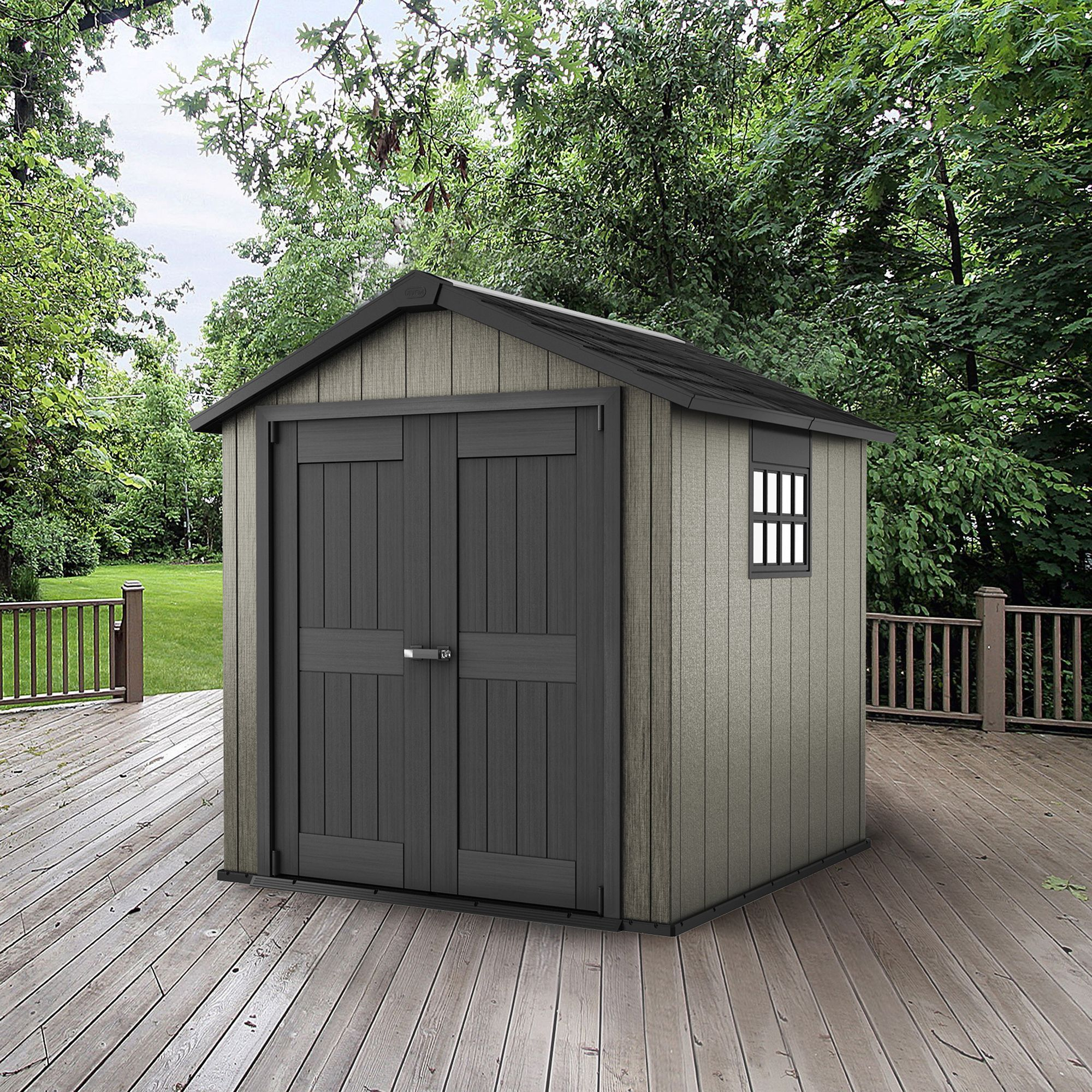 7x7 keter apex double wall resin plastic metal shed departments diy at bq - Garden Sheds 7x7