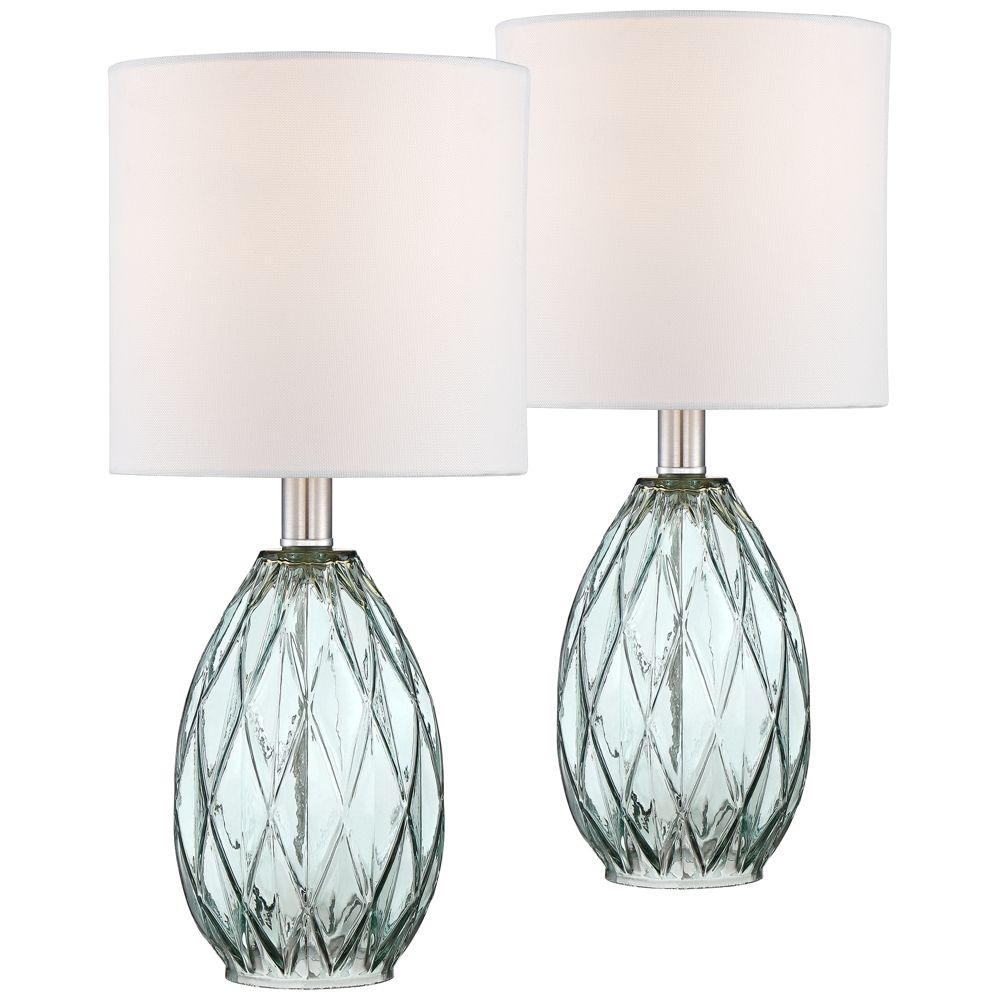 Rita Blue-Green Glass Accent Table Lamp Set of 2 - Style ...