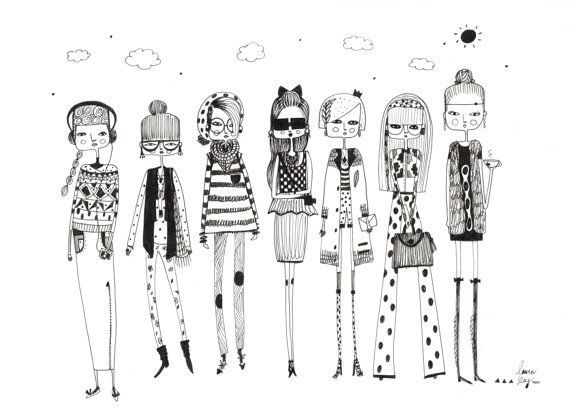 Fashion illustration, fashion art print, girls room decor, girls print