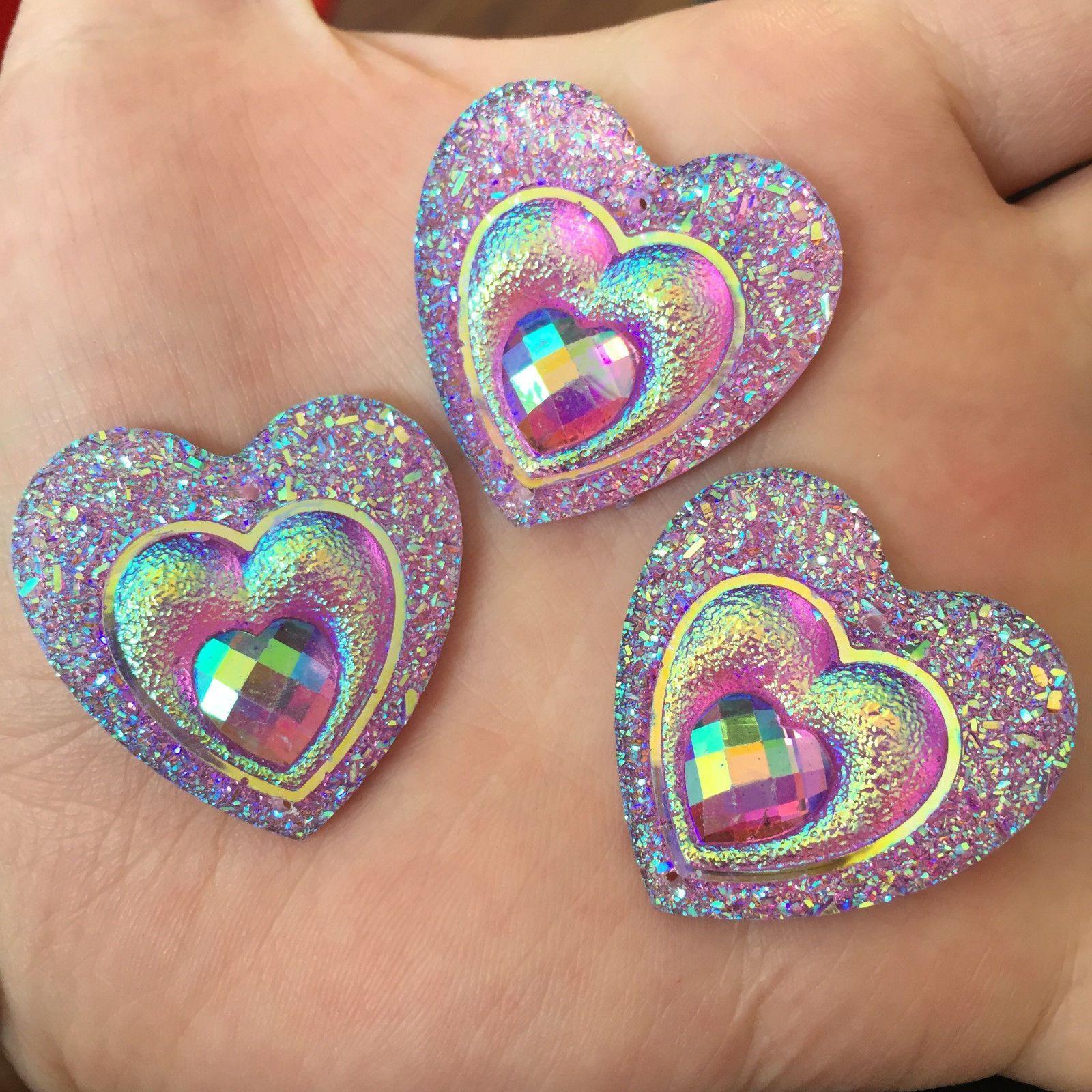 5//10Pcs 30mm Big Heart Resin Flatback Rhinestone Handmade Art Work Craft DIY