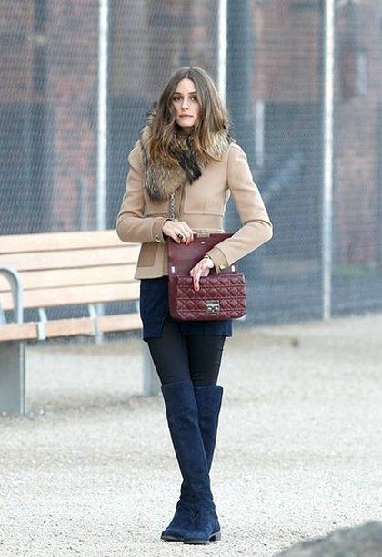 Olivia Palermo-Dior Bag & Navy Boots