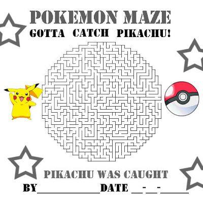 Pokemon und Pikachu Labyrinth für Pokemon-Geburtstag ...