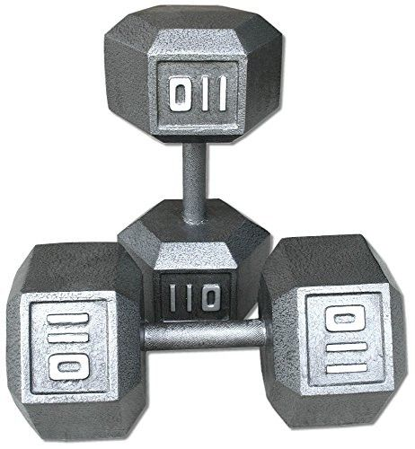 Pair 110 lb. Cast Iron Hex Dumbbells