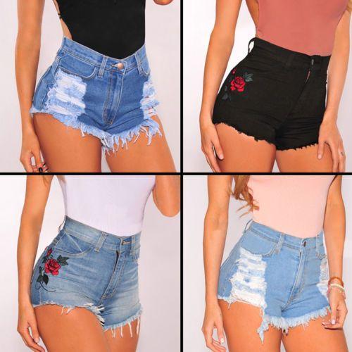 7de699d7ea87 Women-High-Waisted-Washed-Ripped-Hole-Short-Mini-Jeans-Denim-Pants-Shorts- Summer