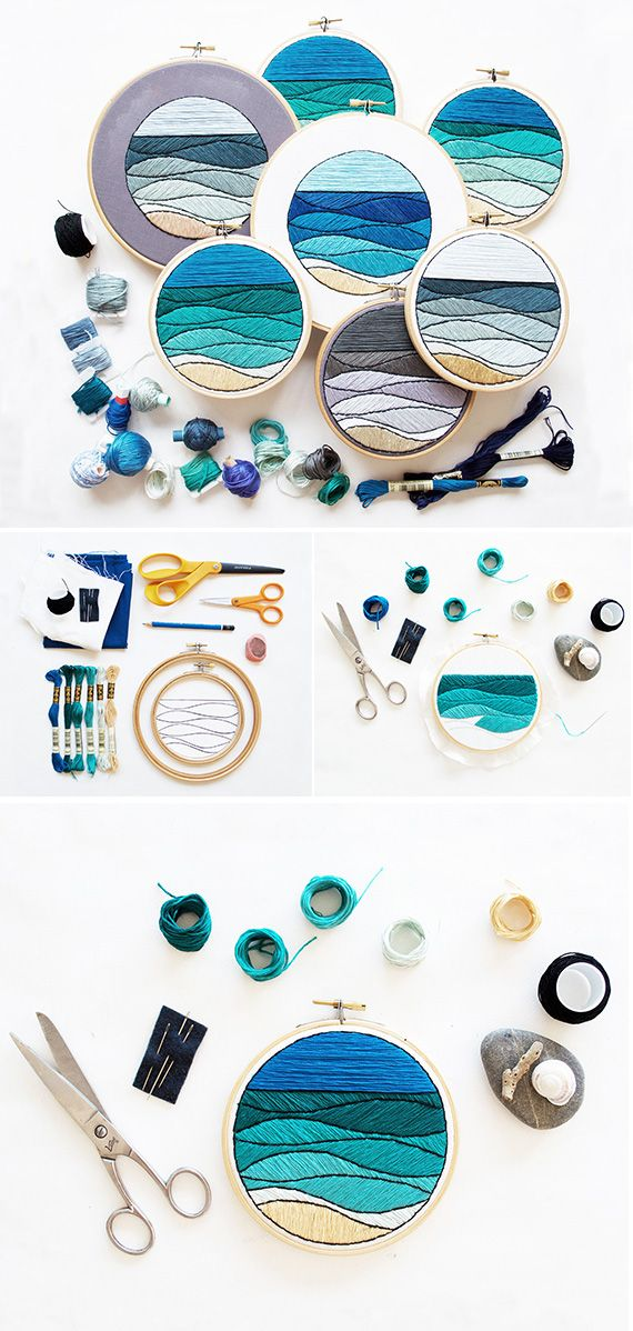 An embroidered seascape you create. Let this DIY pattern guide the ...