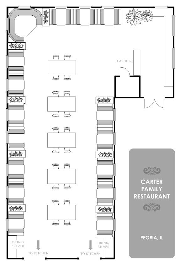 Mesmerizing Family Restaurant Floor Plan With Smart Draw Displaying Manu Dining Table Chairs