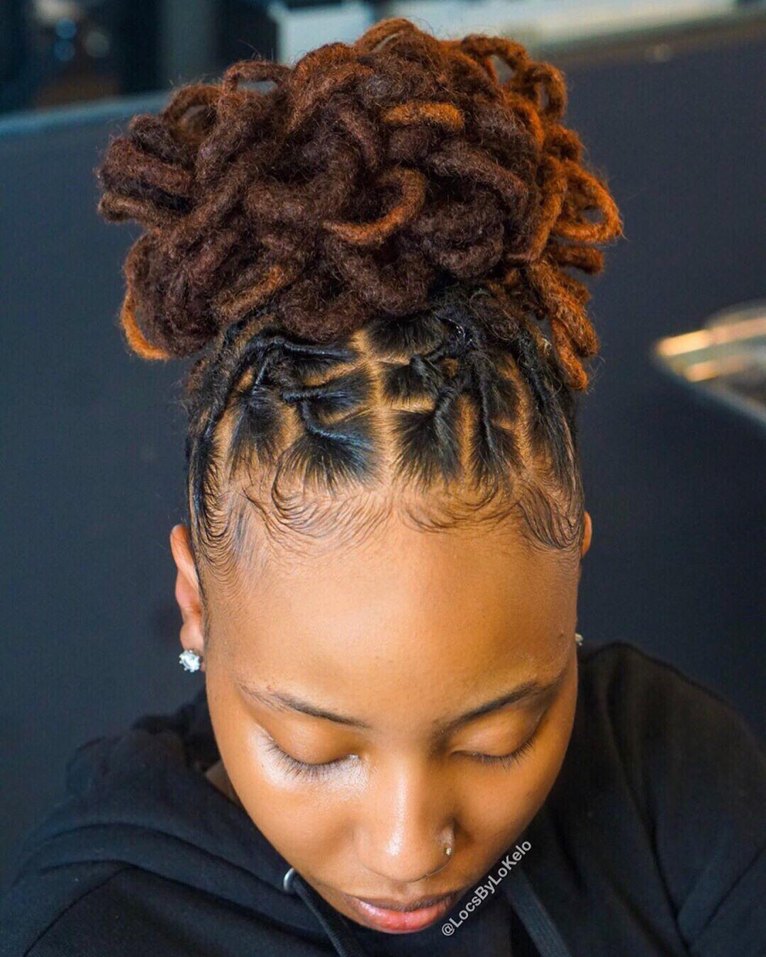 Kingoflocs On Instagram G O O D M O R N I N G Pretty Petal Bun For Her This Look Swipe Short Locs Hairstyles Locs Hairstyles Dreadlock Hairstyles