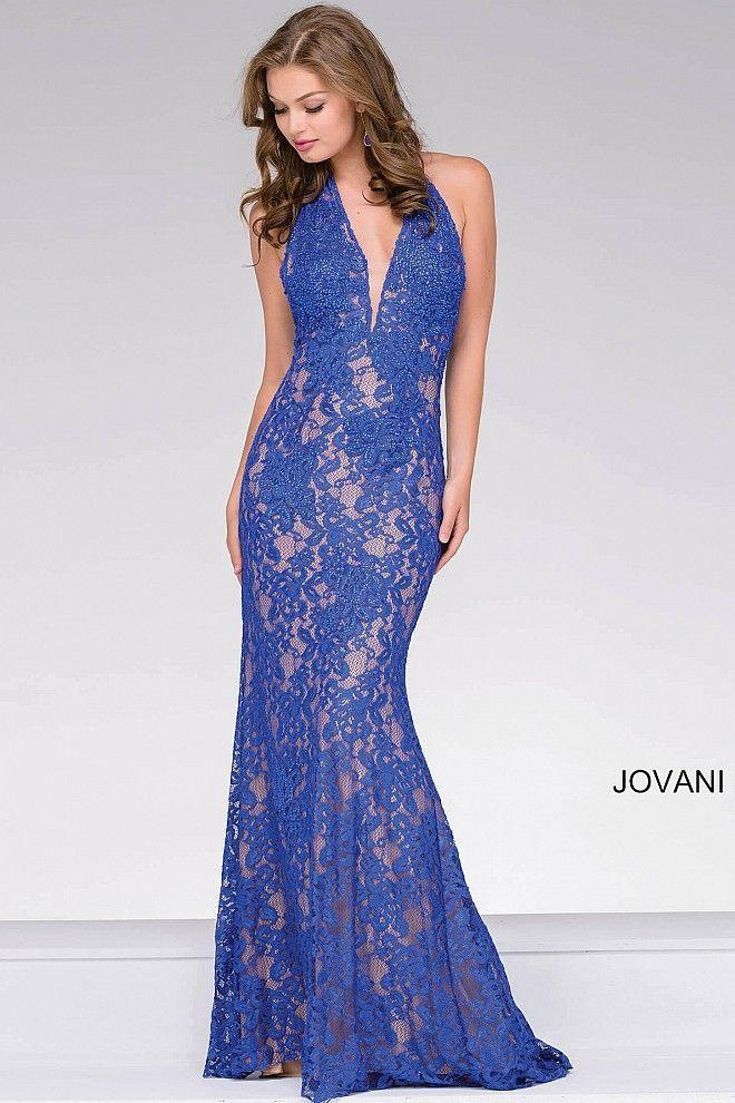 f1e7fe3f2b Royal Lace Halter Neck Open Back Dress 41248