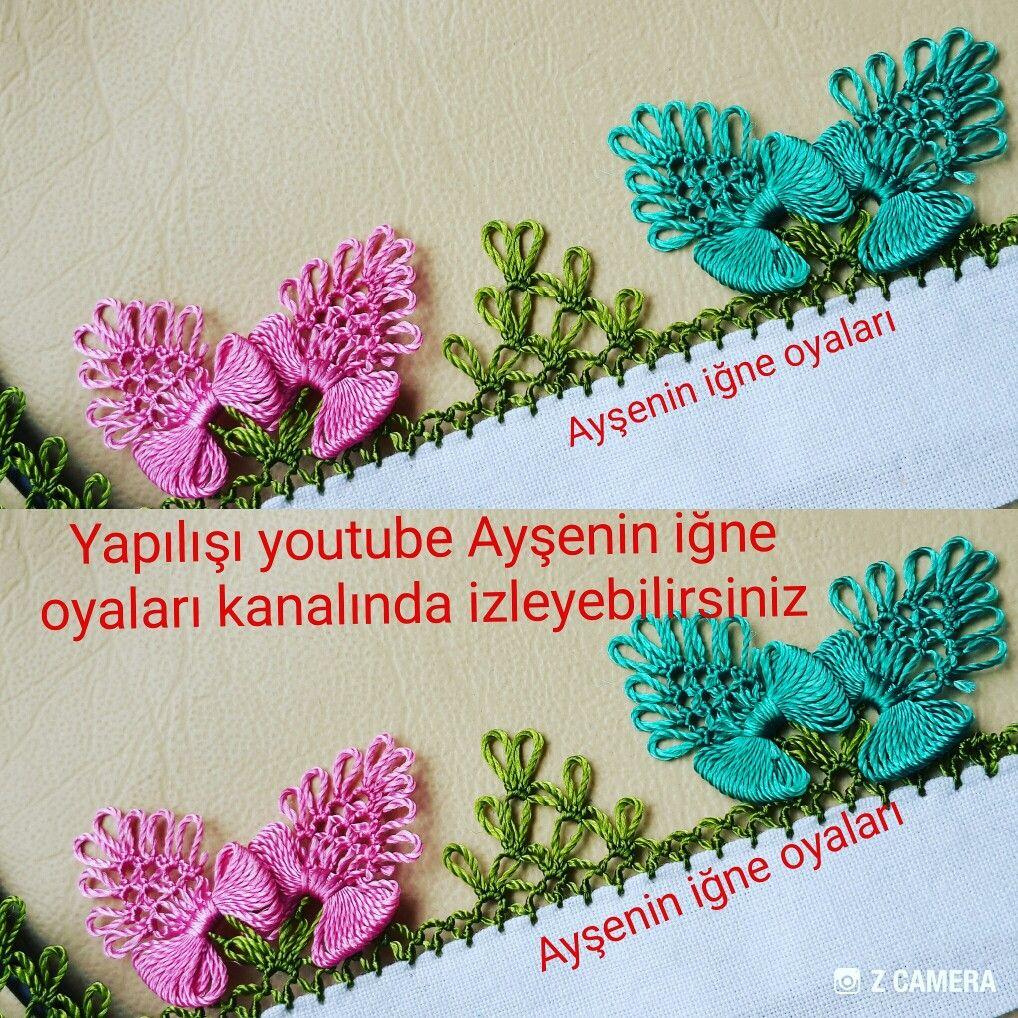 İğne Oyası Yatık Pembe Çiçek Modeli Yapılışı Anlatımlı Türkçe Videolu