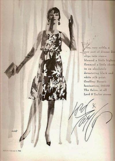 Dorothy Hood's Fashion Illustration, Cocktail dress - L&T - 1965