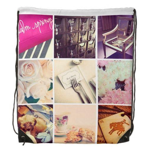 Custom Instagram Photo Collage Drawstring Backpack