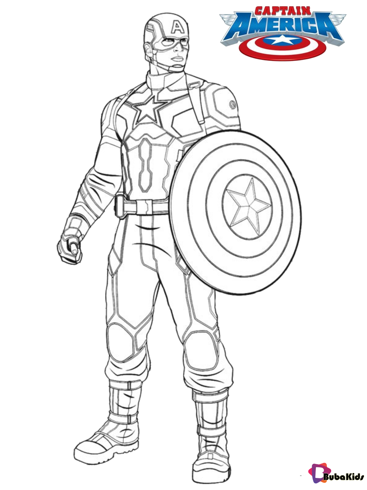 Captain america coloring page for kids in 2020 (With ...