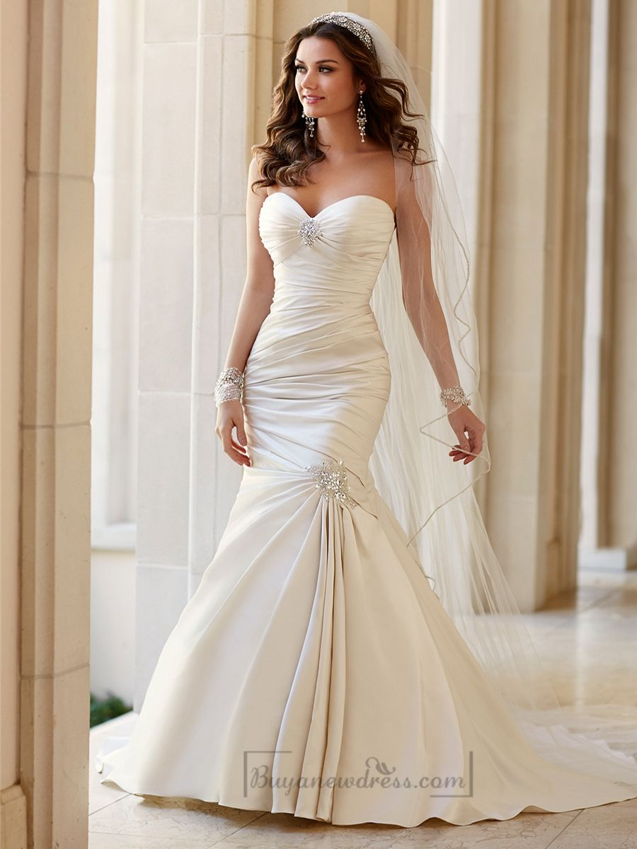 Embellishment Sweetheart Neckline Asymmetrical Ruched Fit And Flare Wedding Dresses Fit And Flare Wedding Dress Stella York Wedding Dress York Wedding Dress