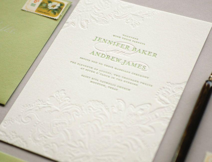 Isabel Letterpress Wedding Invitation Sample. $5.00, via Etsy ...