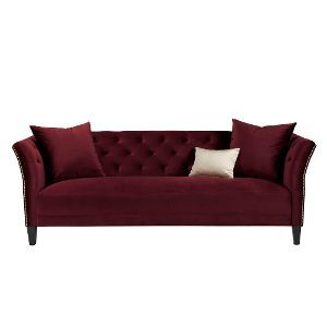 Layla Maroon Velvet Upholstered Contemporary Sofa