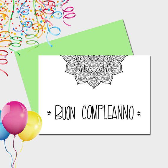 Buon Compleanno Biglietto Stampabile Mandala Stationery Cards Printable Cards Happy Birthday Printable