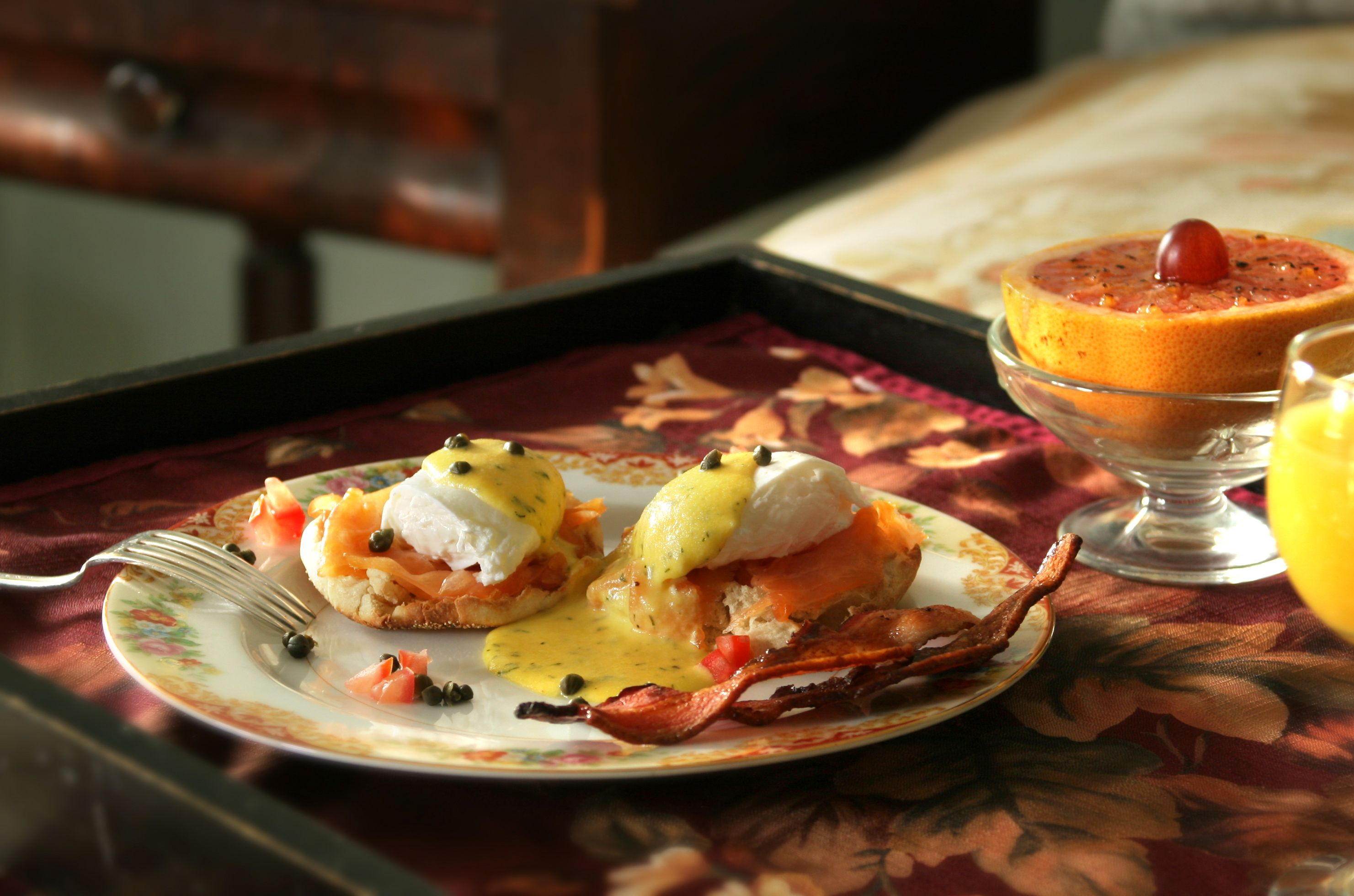 Eggs Benedict served at the Woolverton Inn near New Hope