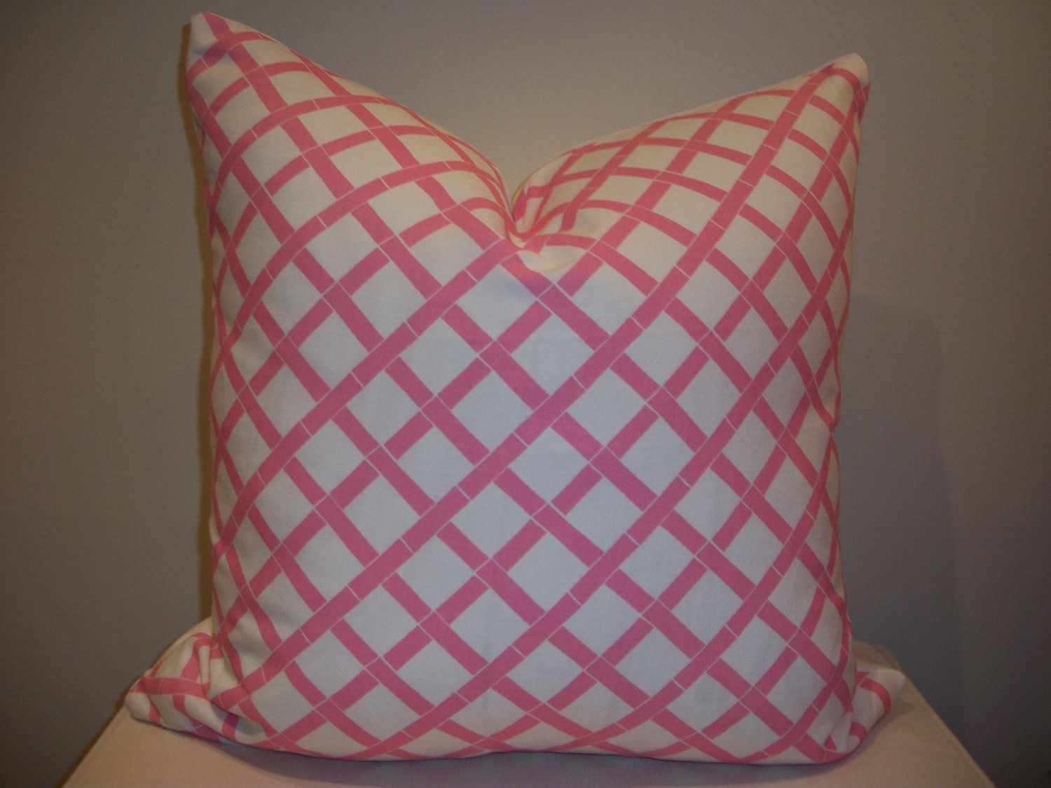 x pink and white lattice print design pillow cover