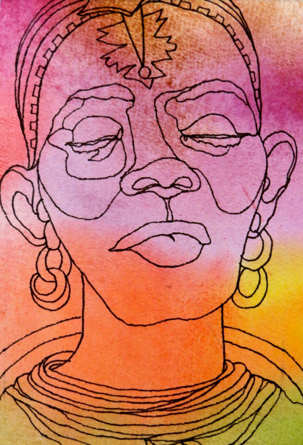 Line Drawing Faces : Samburu sister an original artwork ink drawing on