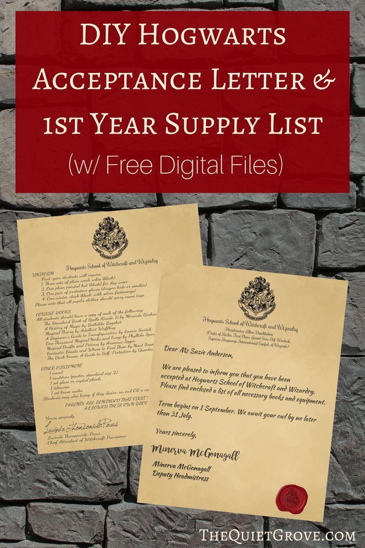 Diy Hogwarts Acceptance Letter  St Year Supply List W Free