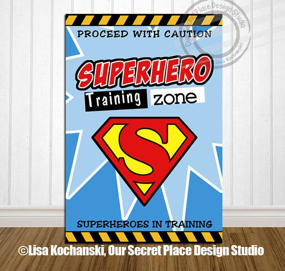 Superhero Classroom Decor Printables : Superhero training zone children s wall art poster by