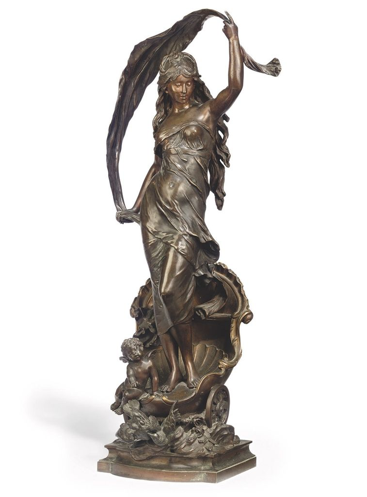c16242fda0a A FRENCH BRONZE FIGURE OF  LE CHAR D AURORE  CAST FROM THE MODEL BY AUGUSTE  MOREAU