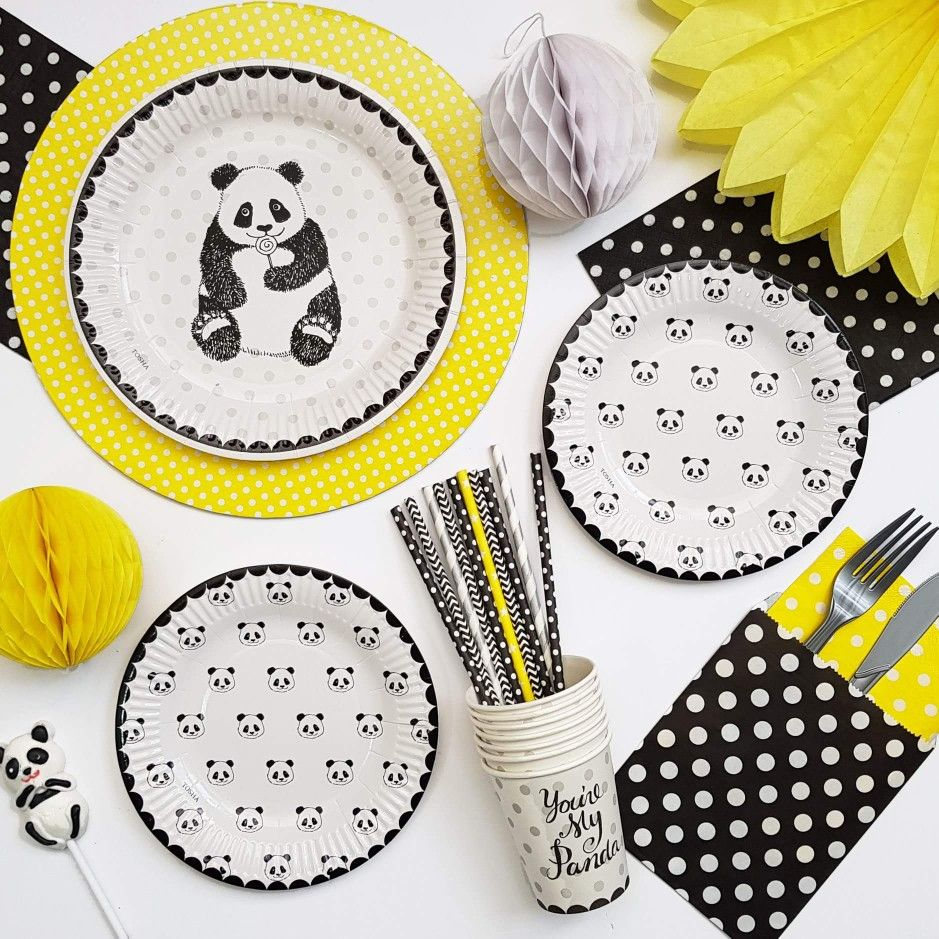 Panda partyware with a touch of yellow panda party