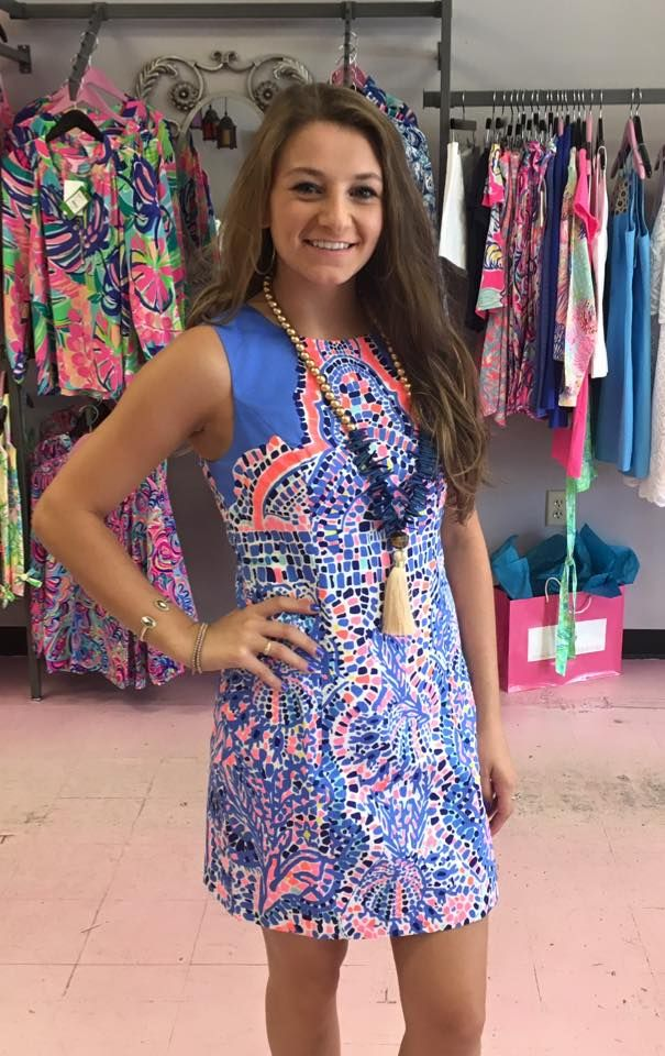 de8c1b2ff0be73 Mila Shift Dress in print Tic Tac Tile Engineered. $198. Call to order  910-483-0733