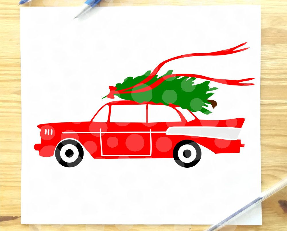 Christmas svg file, Christmas car, svg, red 57 chevy, svg, antique classic car, merry christmas, retro, vintage, old red car, christmas tree
