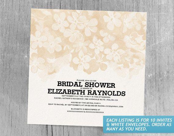 Peach Flowers Bridal Shower Invitations