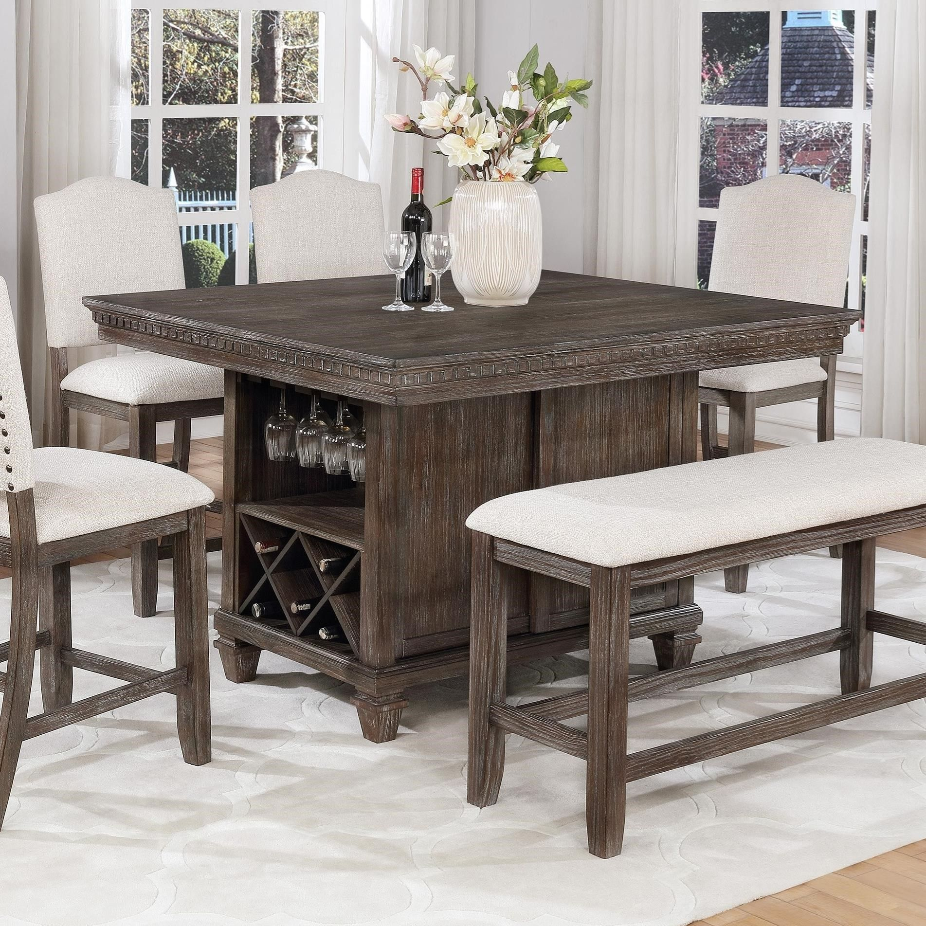 Regent Counter Height Table With Built In Wine Storage By Crown Mark At Wayside Furniture In 2020 Dining Room Sets Dining Table Decor Dining Table With Storage