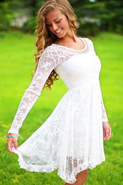 4e0300181bf Long Sleeves Prom Dress Short White O-neck Pearls Beaded 8th Grade  Graduation Homecoming Lace Dresses CS074