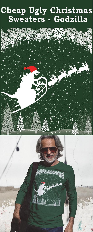 Cheap Ugly Christmas Sweaters Godzilla Godzilla Pinterest