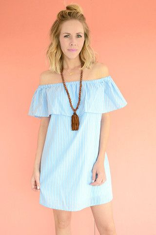 7911e8f4aea3 Teenplo Blue and white striped off the shoulder dress
