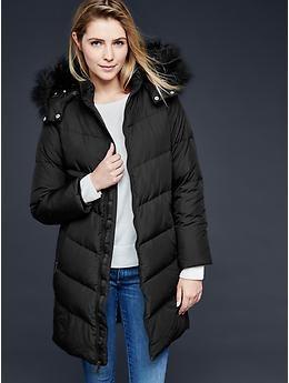 360064fb02f8 Faux fur-collar chevron down puffer jacket | Gap |