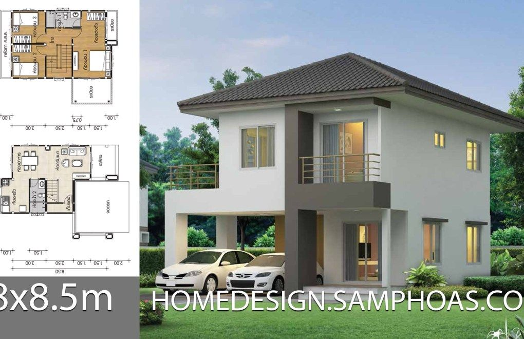 House Plans 8 8 5m With 3 Bedrooms House Plans Modern Small House Design Small House Design