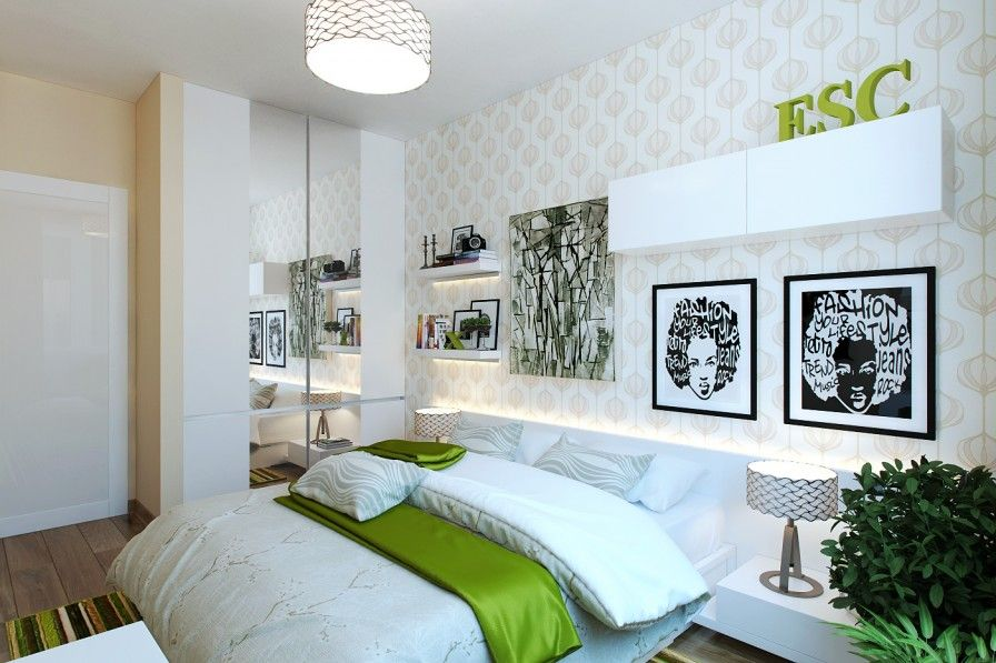 Bedroom Funky Green Rug White Bed Pillows Blanket Concrete Lamp Gorgeous Wallpaper Photos Bookshelves Abstract Painting Table Lamps Mirror