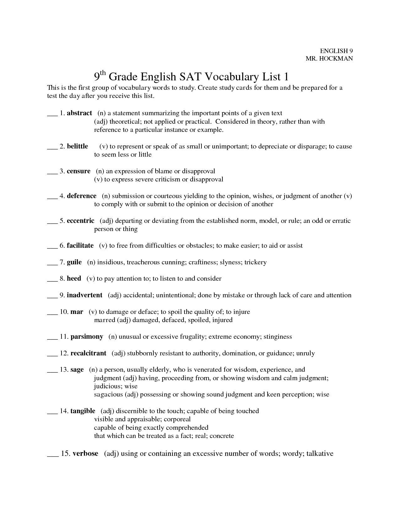 9th Grade Vocabulary Worksheets With Images