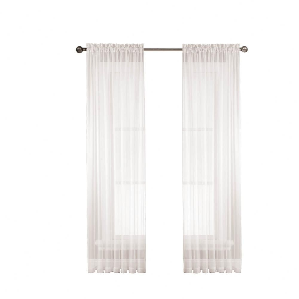 Window Elements Sheer Diamond Sheer 56 In W X 63 In L Rod Pocket Extra Wide Curtain Panel In White Ymc002964 Extra Wide Curtains Rod Pocket Curtains Panel Curtains