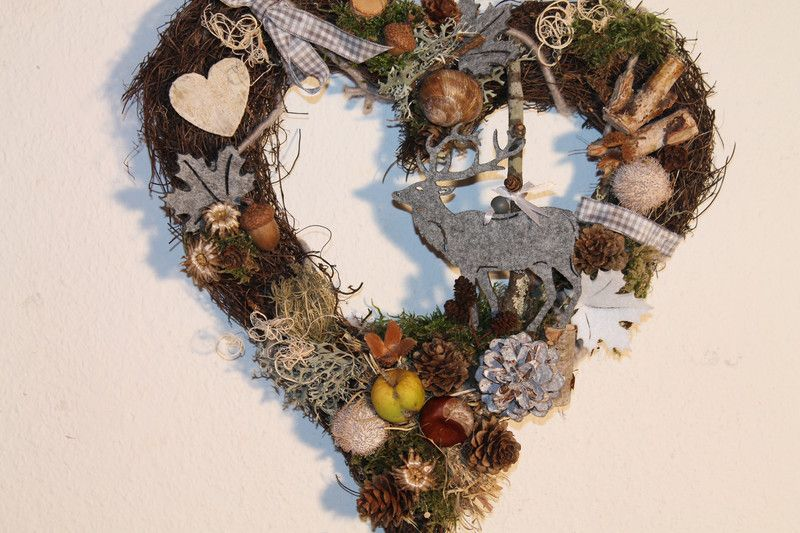 """Herbst-Herz """"Hirsch"""" von MIA-Floristik auf DaWanda.com"""