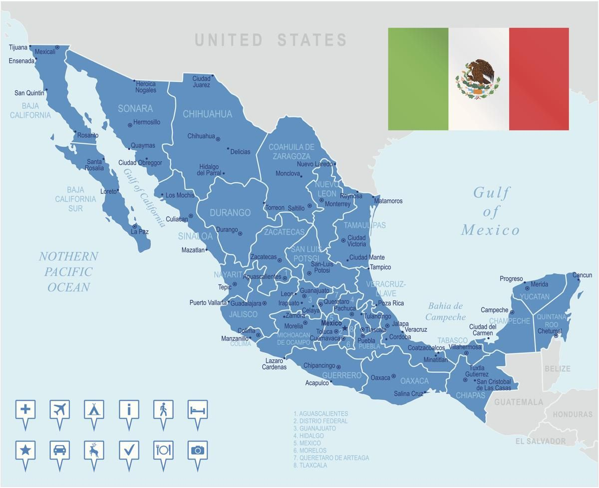 Highly Detailed Map Of Mexico And The Bordering Waters