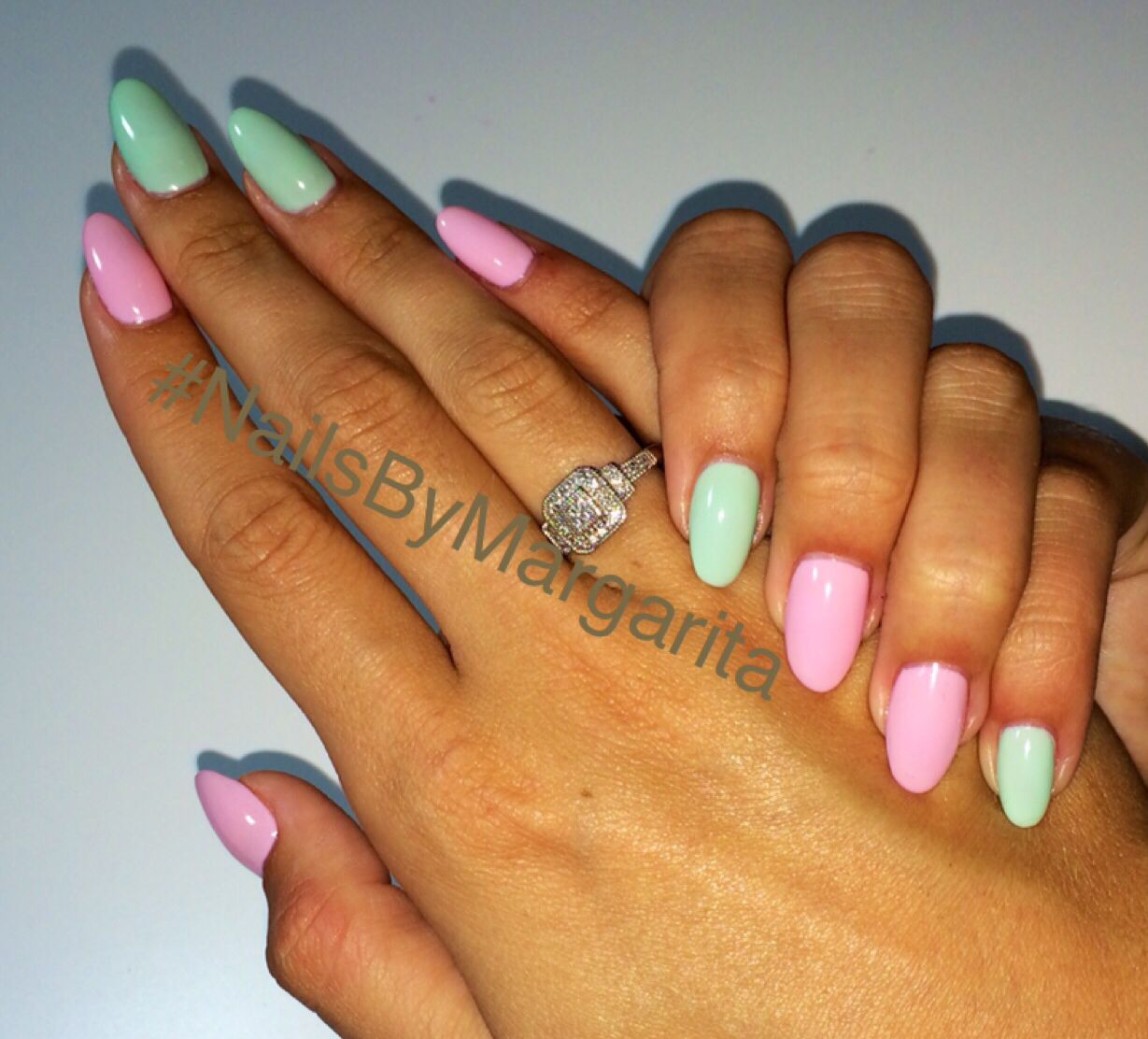 Mint Green And Pink Nails