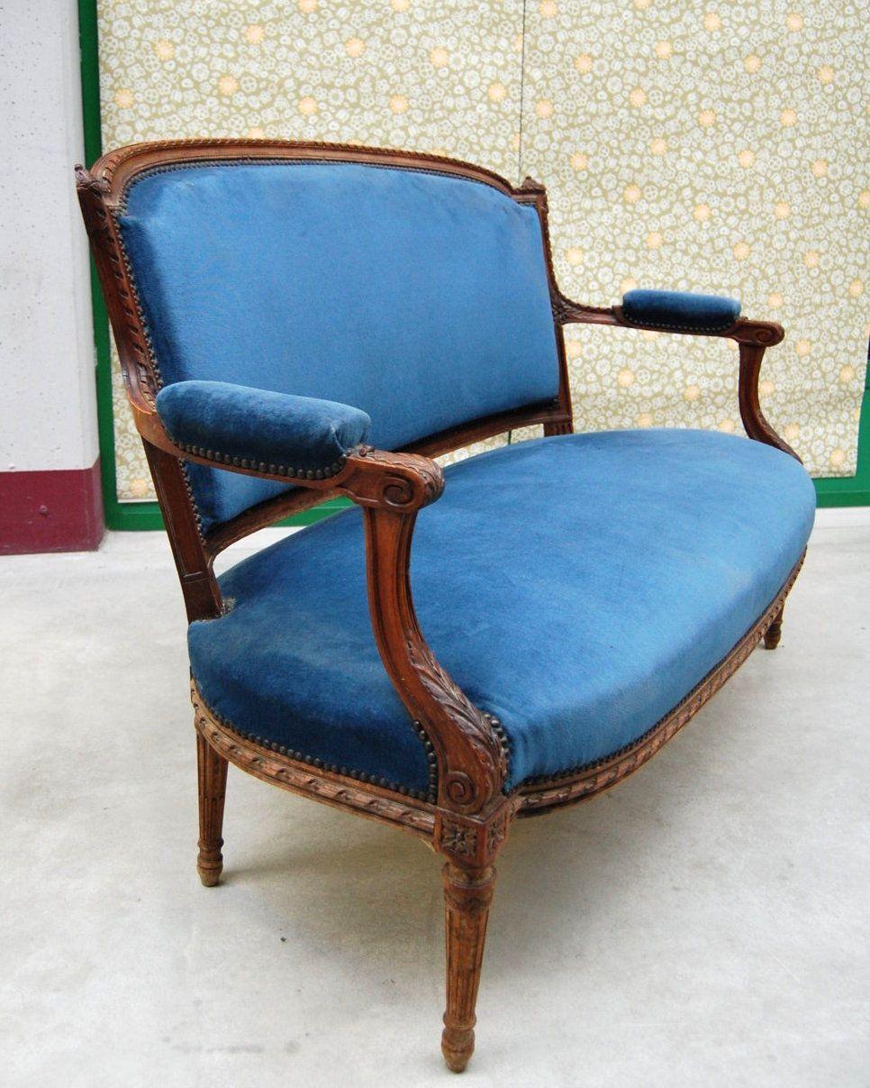 Divano '800 in stile Luigi XVI in faggio e velluto blu ...