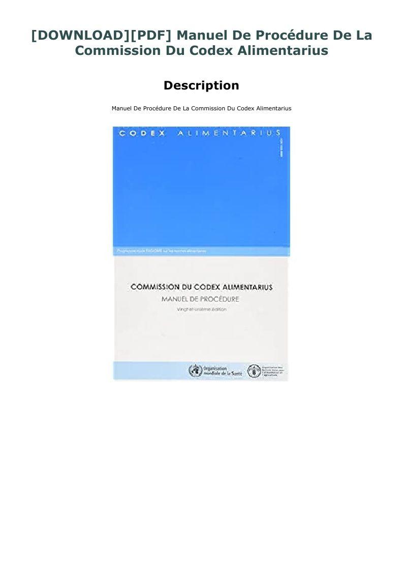Download Pdf Manuel De Procedure De La Commission Du Codex Alimentarius Book Title Robert Kiyosaki Knowledge